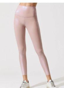 Beyond Yoga pearlized brazen pink leggings, small